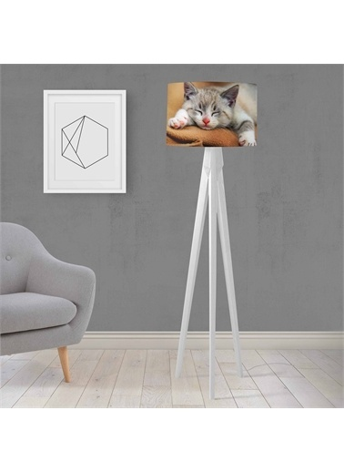 Else Halı Sevimli Kedi Desenli Ahşap Tasarım Lambader Tripod Abajur Renkli
